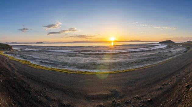 Urmia solne jezero Zapad Slunce