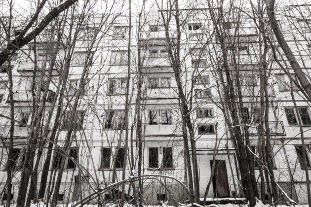 panelak Cernobyl Ukrajina
