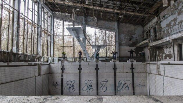 Bazén v Pripjat nedaleko cernobylu
