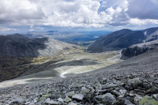 vyhled z hory Rondslottet na narodni park rondane v norsku