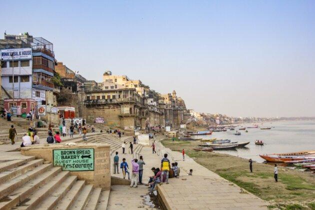 Ghaty Indie Varanasi lide reka ganga